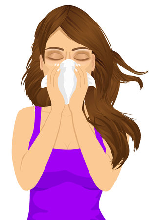cough: portrait of young sick woman ill suffering allergy using white tissue on noseisolated on white background Illustration
