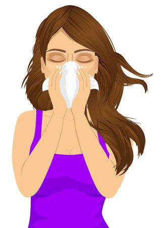 tos: retrato de joven mujer enferma alergia sufrimiento mal uso de tejido blanco en noseisolated sobre fondo blanco Vectores