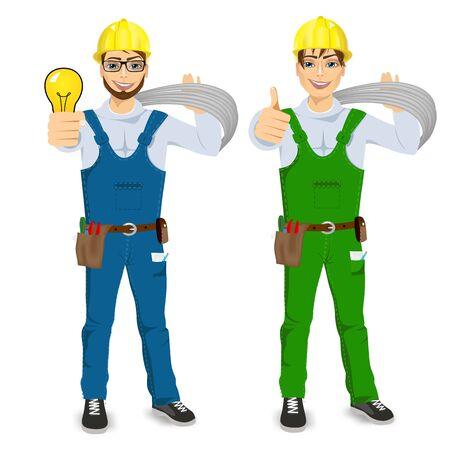 cabling: illustration of technical, electrician or mechanic showing thumbs up isolated over white background