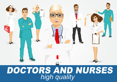 over white: group of doctors and nurses set isolated over white background