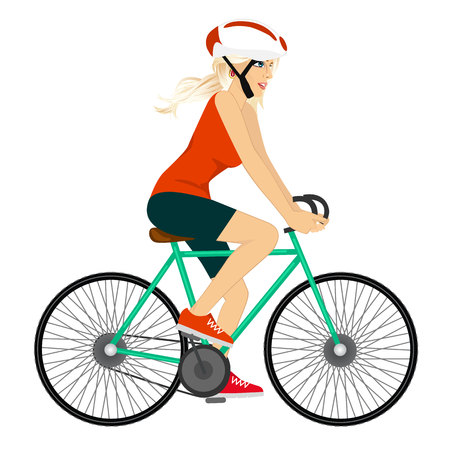 full body portrait of young professional cyclist woman cycling happy riding bike