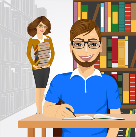 college student: university male student with open book styding in the college library and young happy librarian with glasses holding stack of books cstanding behind him Illustration