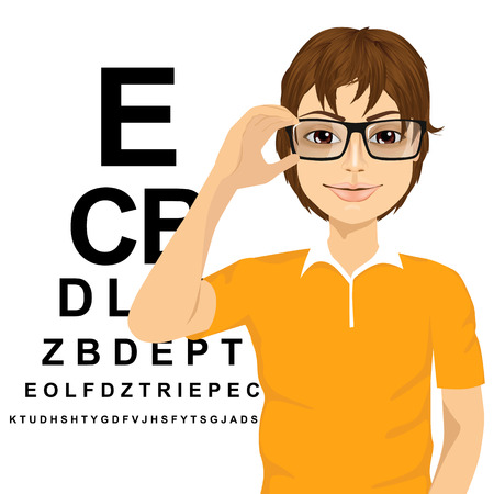 nerdy: portrait of young man with glasses reading sight test characters a ophthalmologist