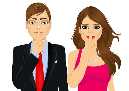 portrait of handsome businessman and attractive woman making silence or secret hand gesture with finger on their lips