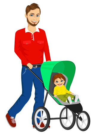 father and child: handsome single hipster father pushing stroller with cute little boy
