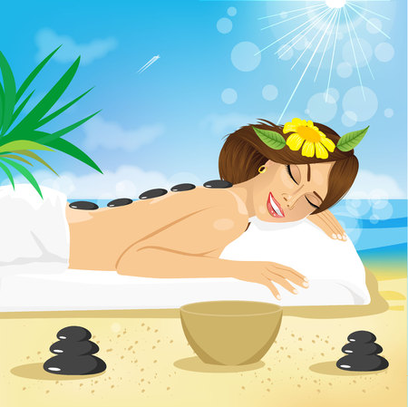 nude outdoors: Beautiful brunette woman getting hot stones treatment out on the beach Illustration