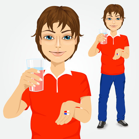 hombre guapo: portrait of young handsome man taking pills with glass of water Vectores