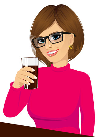 girl glasses: portrait of beautiful brunette young girl with glasses smiling and holding drink glass sitting on table