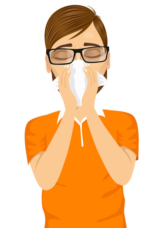 the suffering: portrait of young sick man ill suffering allergy using white tissue on noseisolated on white background Illustration