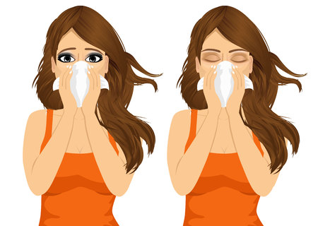 blowing nose: portrait of young sick woman ill in two different outfit styles suffering allergy using white tissue on noseisolated on white background Illustration