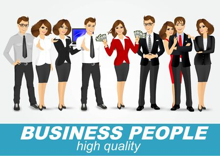 woman business suit: set of diverse business people isolated on white background