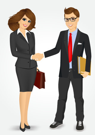 negotiating: businessman with briefcase and businesswoman with paper folder shaking hands happy standing negotiating