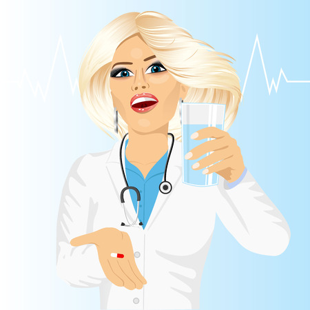 girl drinking water: young attractive female doctor offering a pill with glass of water