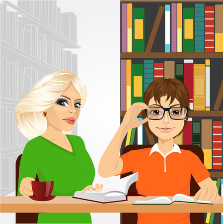 student book: attractive blonde women drinking coffe and nerdy guy with glasses sitting with open books styding in the college library
