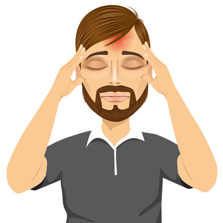 headache man: portrait of hipster man touching his temples suffering a terrible and painful headache isolated over white background