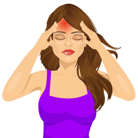 exhaustion: portrait of woman touching her temples suffering a terrible and painful headache isolated over white background