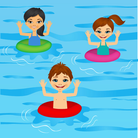 flotation: illustration of three cute little kids swimming with colorful floats Illustration