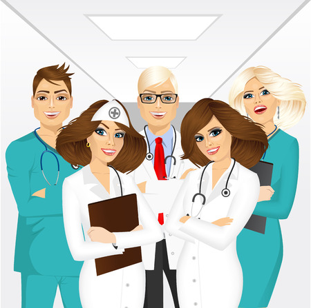 group of medical team professionals standing in a hospital corridor smiling with arms folded Illustration