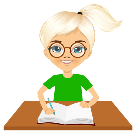 one girl only: portrait of cute little caucasian student girl with glasses writing something and smiling happy sitting at the desk