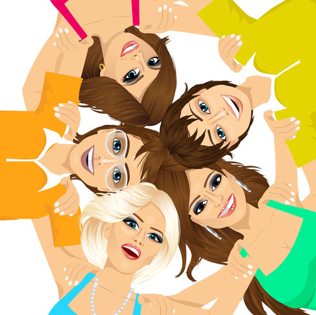 huddle: five young happy smiling teenagers embracing together in circle from low angle view