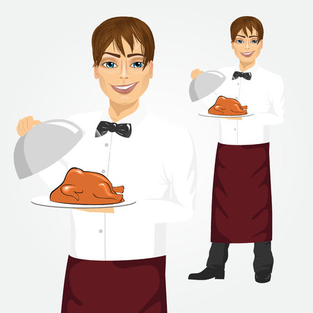 garnished: Portrait of young handsome waiter with tray serving roasted poultry