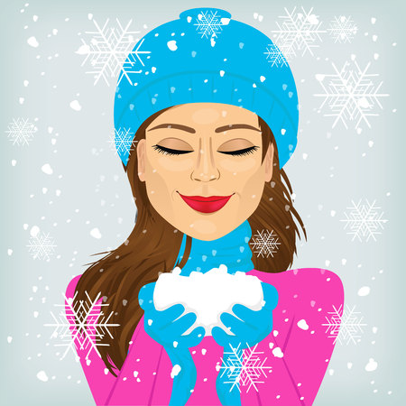 eyes closed: attractive brunette woman with eyes closed and smiling in blue winter hat and scarf holding snow Illustration