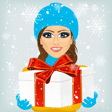 offering: Young woman in blue winter hat offering a christmas gift decorated with a red ribbon, isolated on white background Illustration