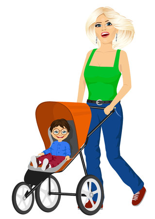 mather: beautiful single blonde mather pushing stroller with cute little boy