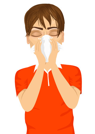 cough: portrait of young sick man ill suffering allergy using white tissue on noseisolated on white background Illustration