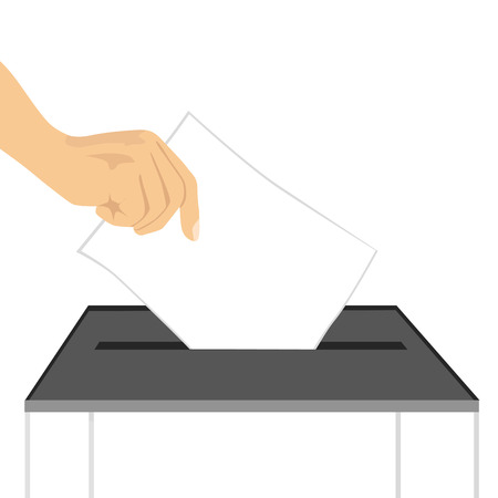 illustration of a hand putting ballot paper in ballot box isolated on white background