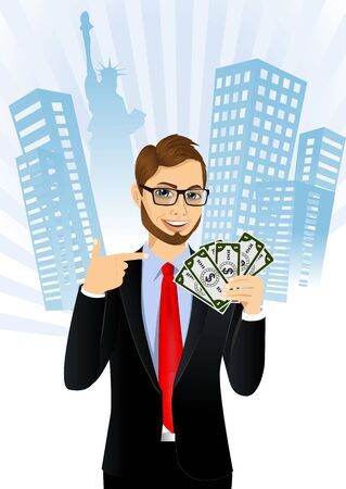 representative: portrait of young male bank representative holding a fan of money in one hand and pointing at it with the other isolated over white background