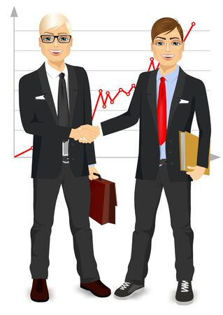 negotiating: two businessmen with briefcase and paper folder shaking hands happy standing negotiating