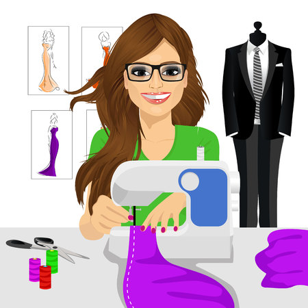attractive young fashion designer dressmaker woman using sewing machine to sew a purple tissue