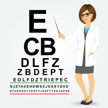 Attractive professional female optician pointing to snellen chart isolated on white background Illustration