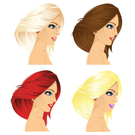 four eyes: illustration of four women profile with different hair color isolated on white background