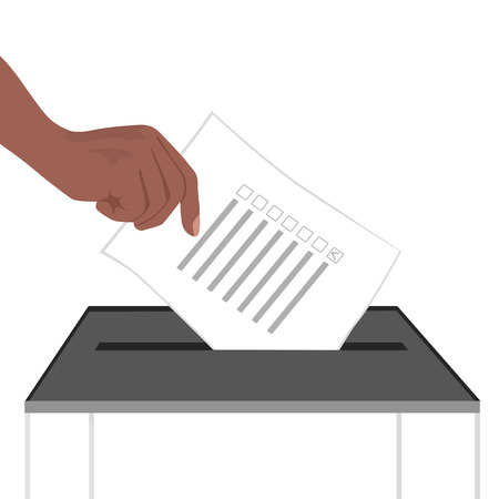 putting: illustration of a hand putting ballot paper in ballot box isolated on white background
