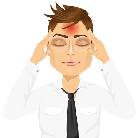 Portrait d'homme d'affaires touchant ses temples souffrant d'un mal de tête terrible et douloureux, isolé, sur fond blanc Banque d'images - 48174494