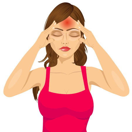 tired person: portrait of woman touching her temples suffering a terrible and painful headache isolated over white background