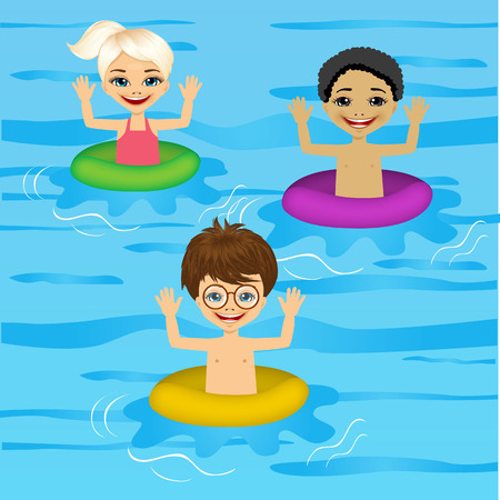 floats: illustration of three cute little kids swimming with colorful floats Illustration