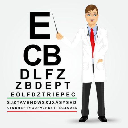 Handsome professional male optician pointing to snellen chart isolated on white background