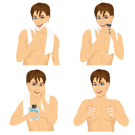 male grooming: four steps of man shaving his face over white background Illustration
