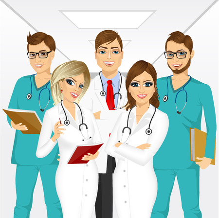 hospital corridor: group of medical team professionals standing in a hospital corridor smiling with arms folded Illustration