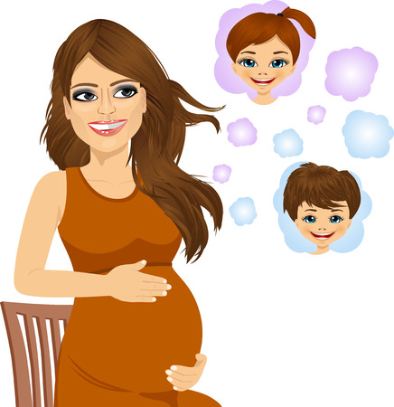 woman dreaming: portrait of attractive pregnant woman sitting on a chair and dreaming about her future babies Illustration