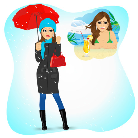 longing: Attractive sad woman standing with an umbrella and handbag in the rain longing for sunny summer beach vacations Illustration