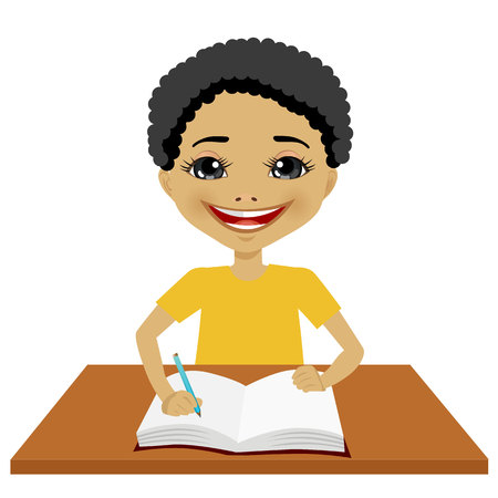 american table: portrait of cute little black student boy writing something and smiling happy sitting at the desk