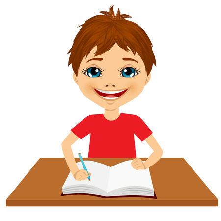 children only: portrait of cute little caucasian student boy writing something and smiling happy sitting at the desk