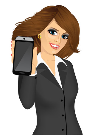 brunette: portrait of beautiful brunette businesswoman displaying her smartphone isolated on white background