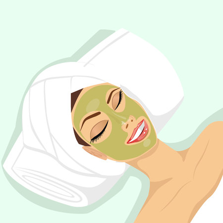 procedure: portrait of attractive woman applying acne treatment with natural facial green mask to clean facial skin Illustration