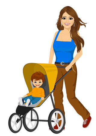 mather: beautiful single mather pushing stroller with cute little boy