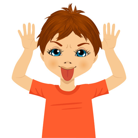 portrait of little boy making mocking expression with hands on head side and sticking out his tongue isolated on white background
